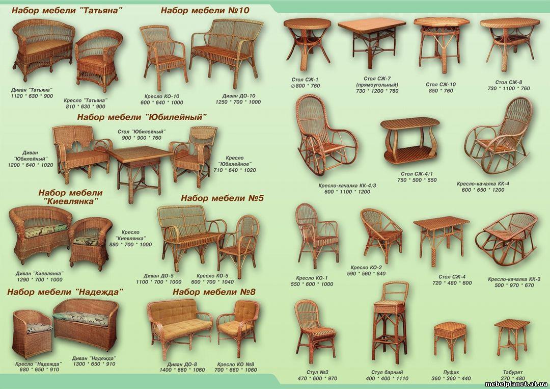 Мебель из ивы схемы чертежи